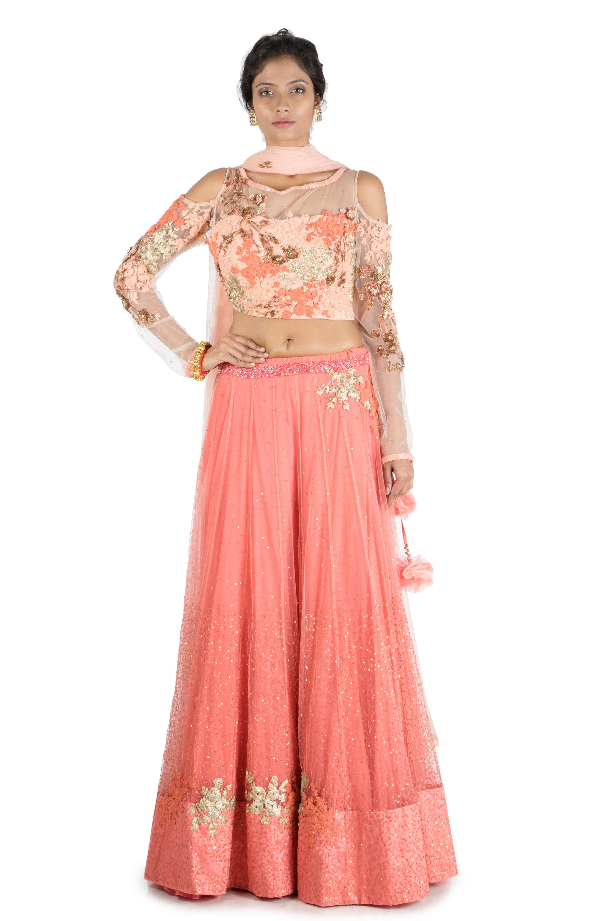 2c7bbb426fe7ed Dark Peach Lehenga With Embroidered cold shoulder blouse | Vintage Desi