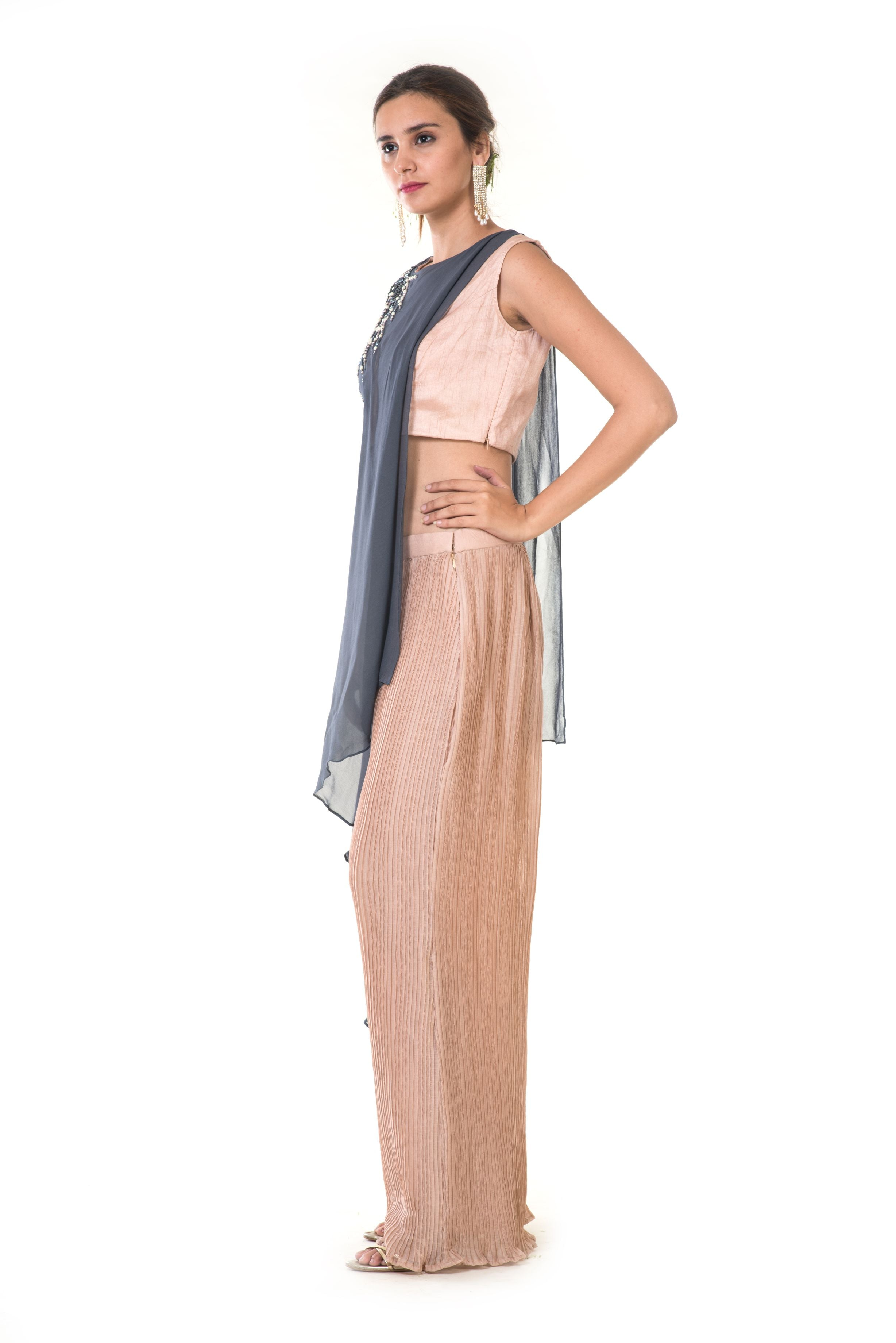 1d64a12d5c3 Hand Embroidered Grey & Peach Asymmetrical Top with Crush Pleated Pants