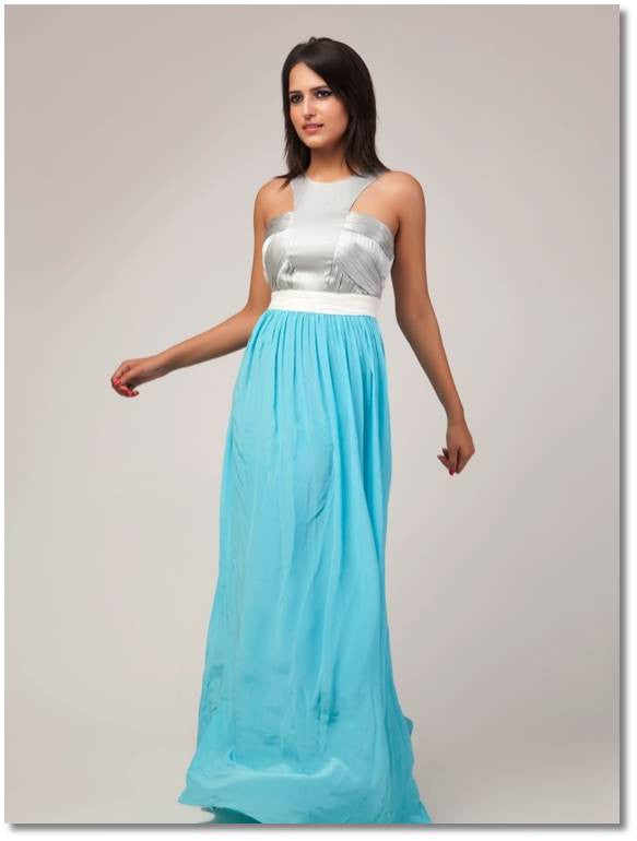 Silver and blue gown | Vintage Desi