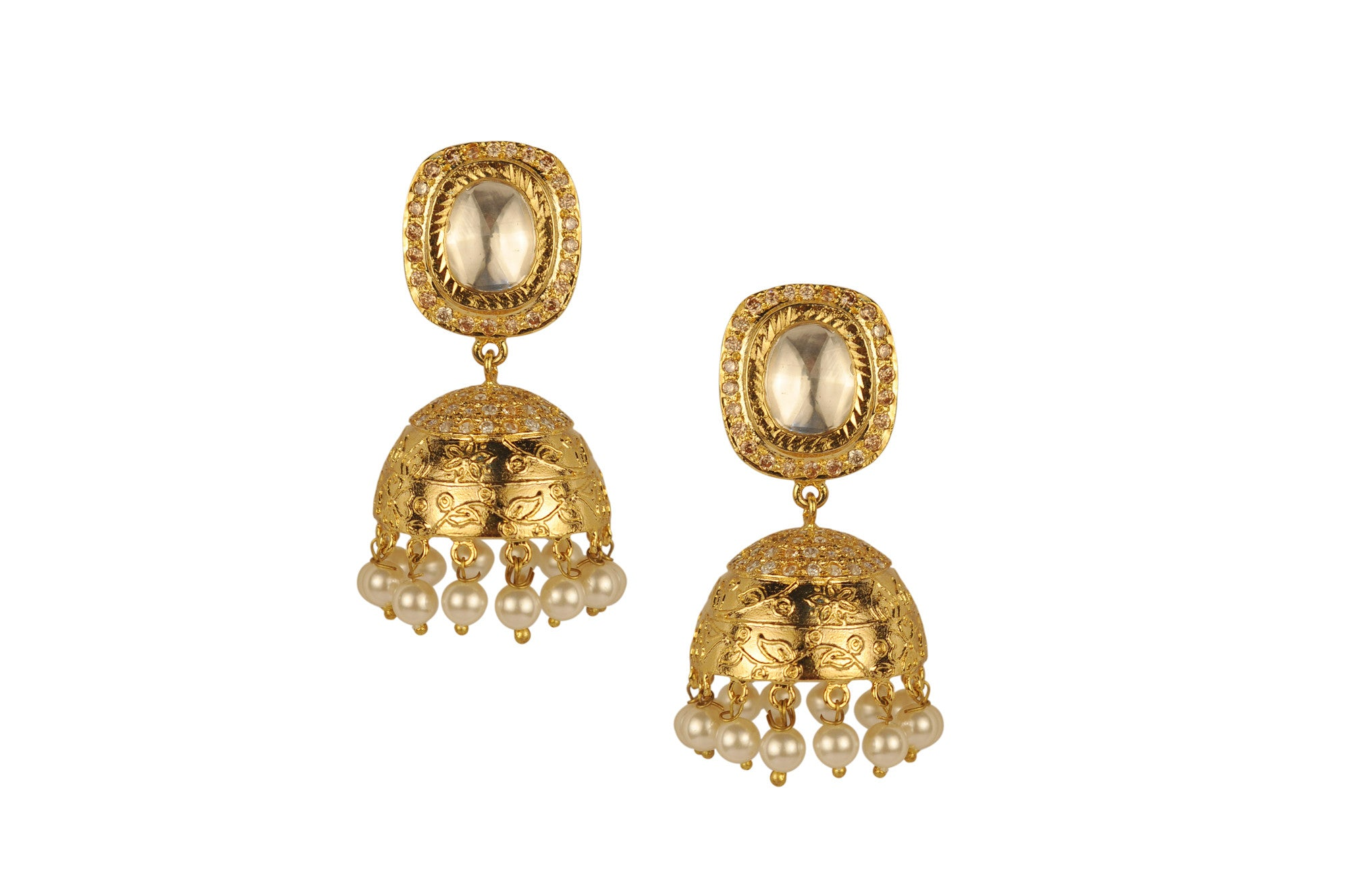 Gold Jhumka With Stone And Moti | Vintage Desi