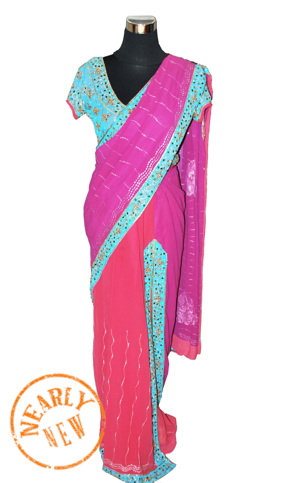 c3073c7792ea8 Onion and purple dual toned stitched saree with contrast blouse ...