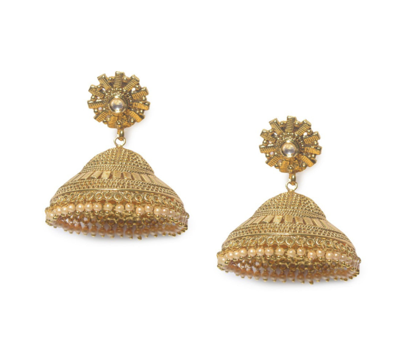 earrings gold par indian women wedding jewelry earring jhumka bollywood itm plated
