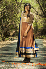 Brown And Electric Blue Anarkali