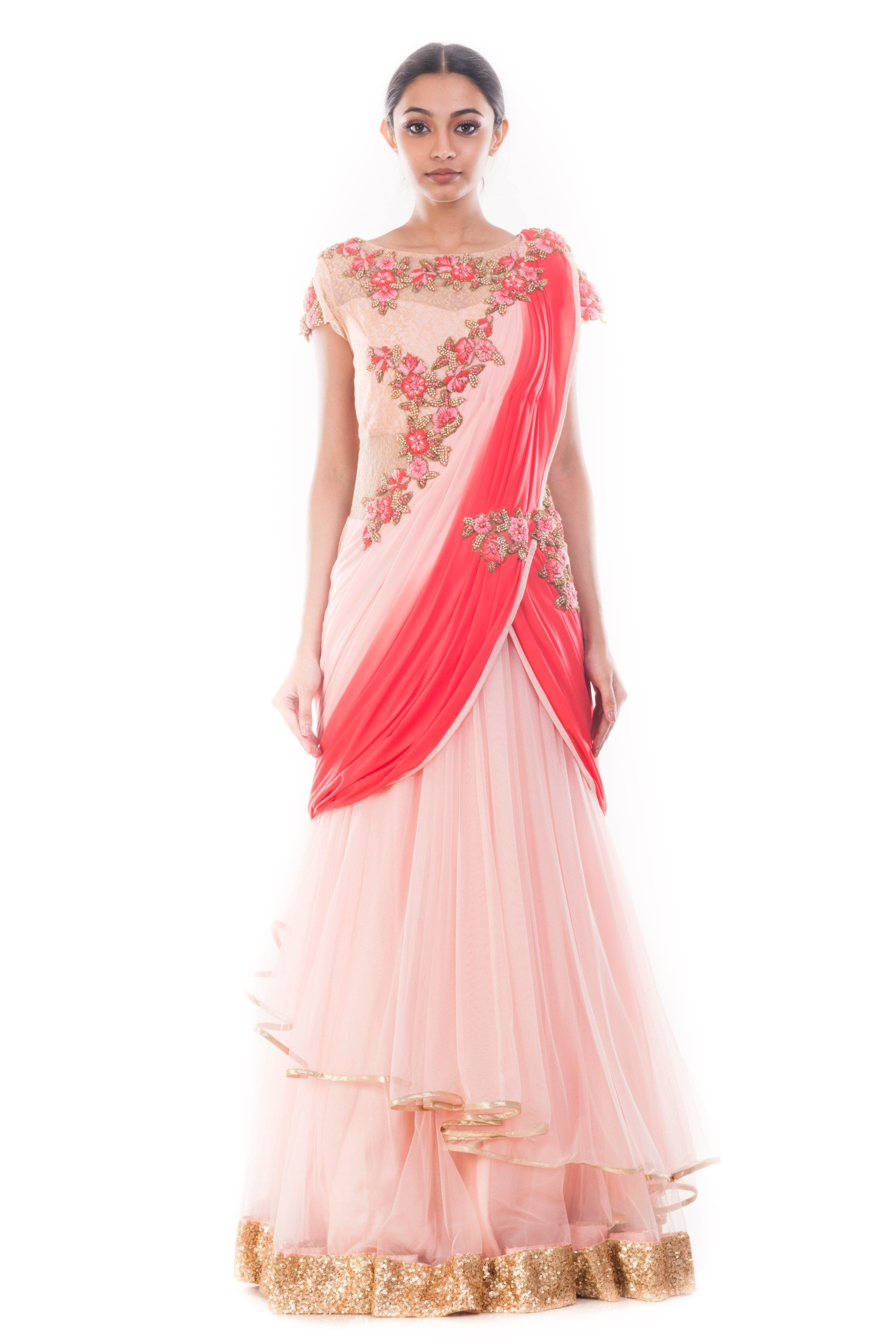 Lilac Pink Gown Saree | Vintage Desi