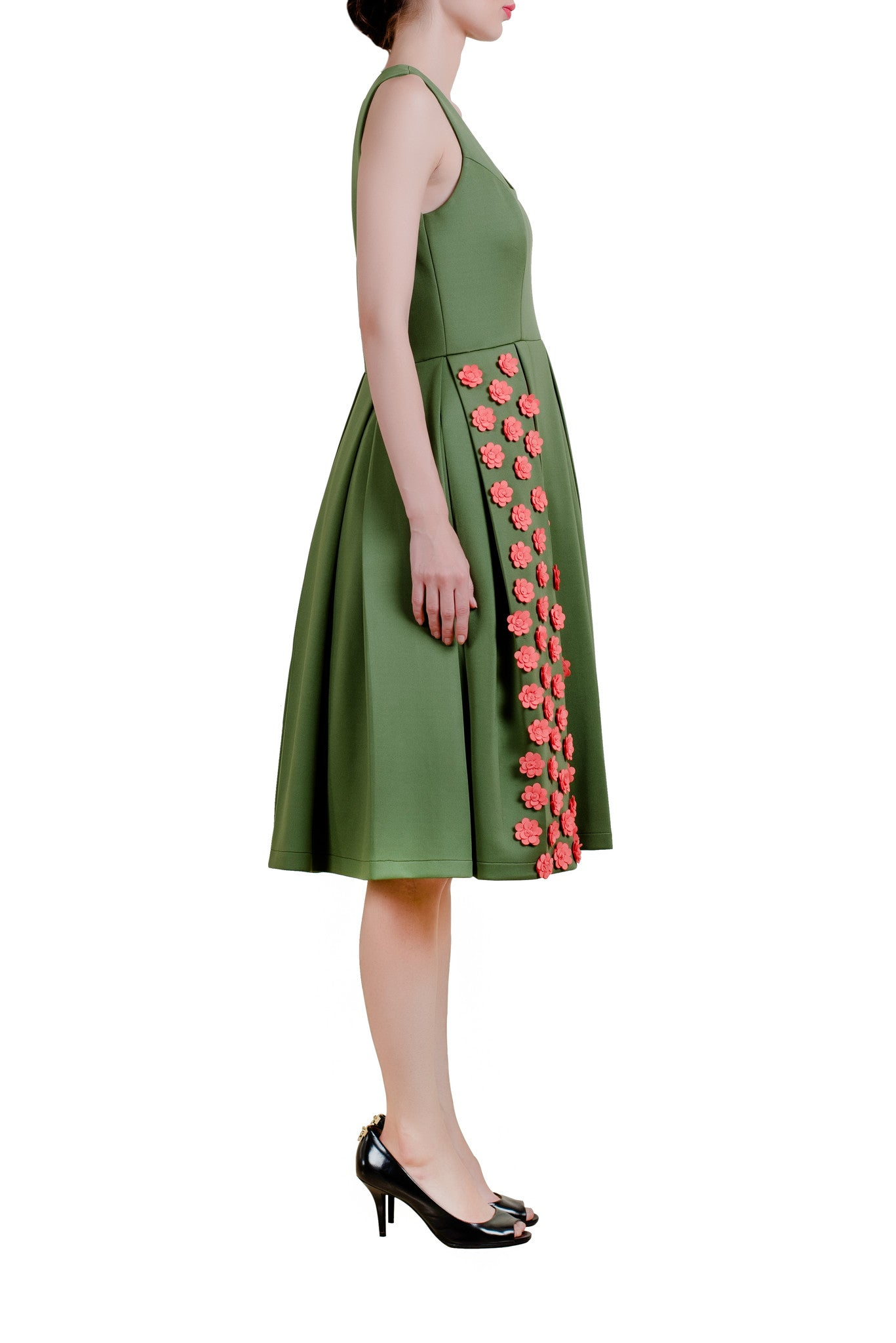 Olive Green Midi Dress With Peach Floral Motifs | Vintage Desi