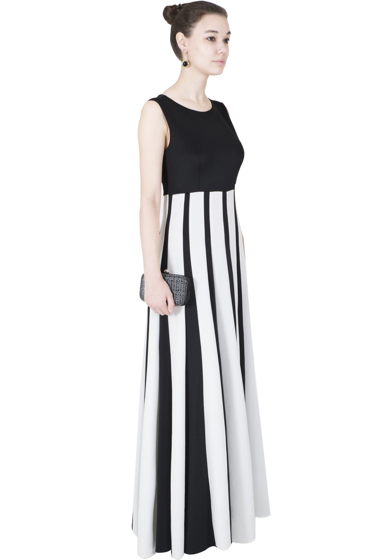 BLACK AND WHITE STRIPED GOWN   Vintage Desi