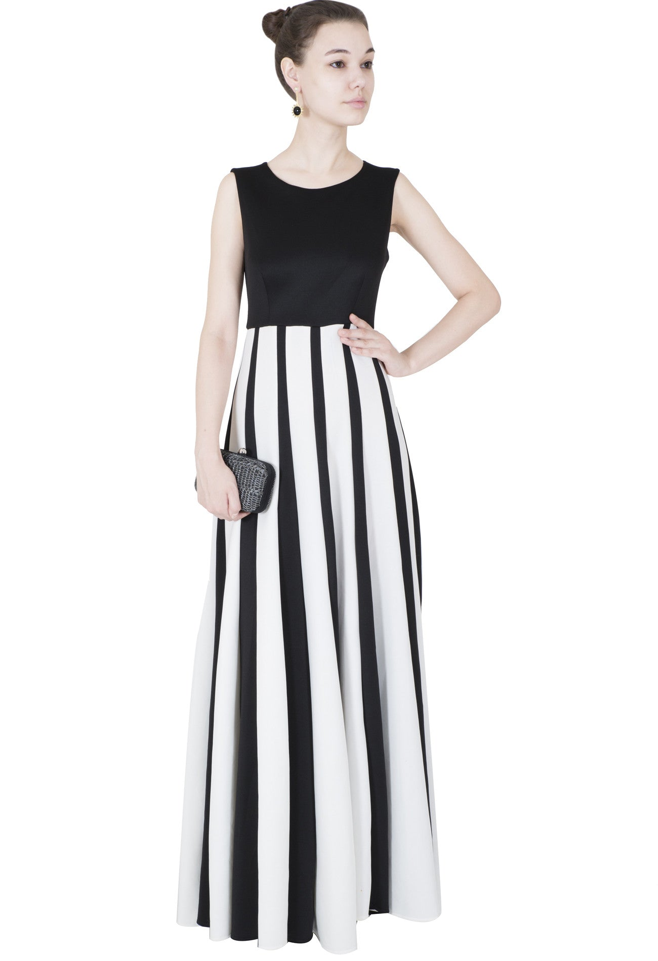 BLACK AND WHITE STRIPED GOWN | Vintage Desi