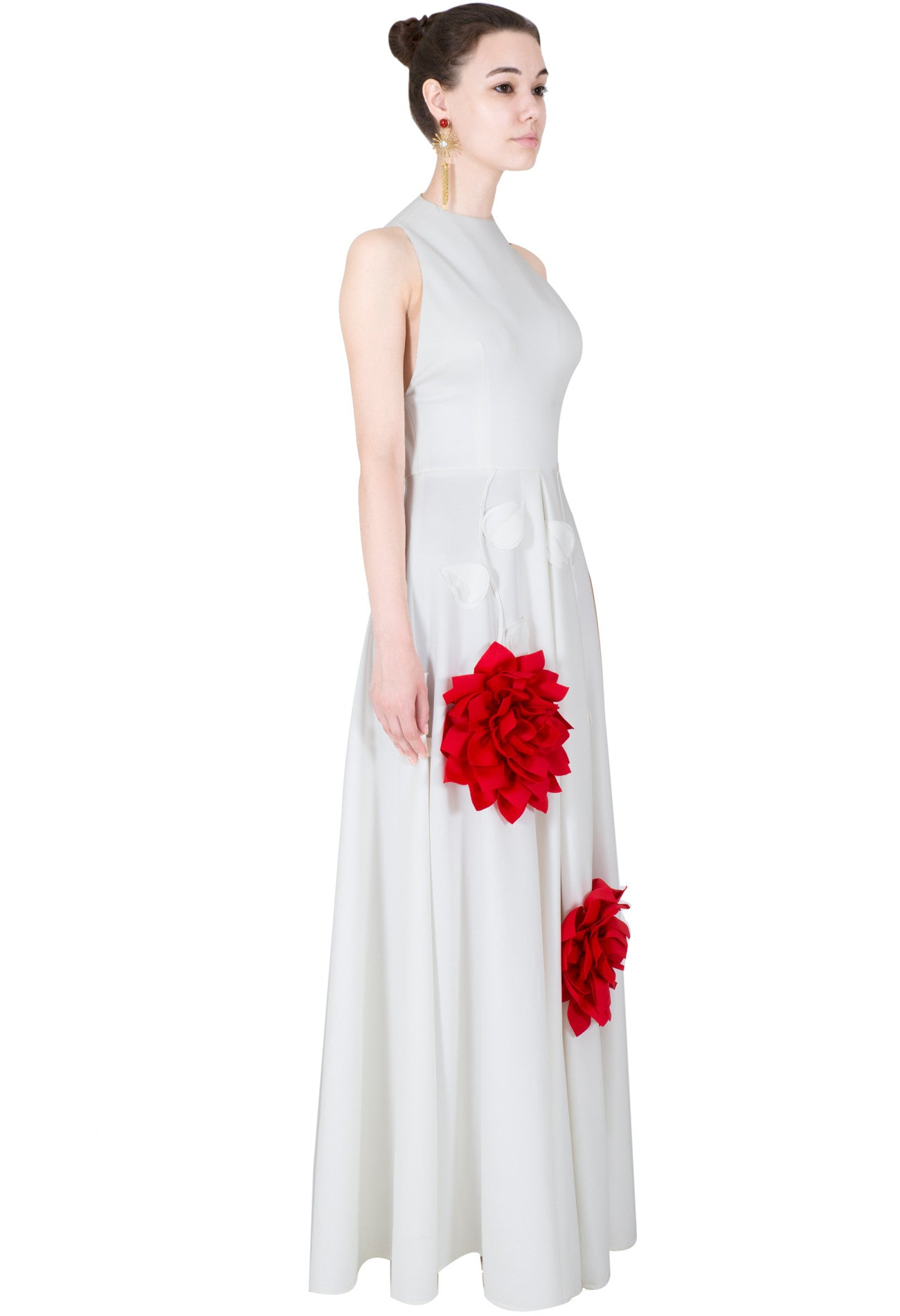 White Gown With Red Flowers Vintage Desi
