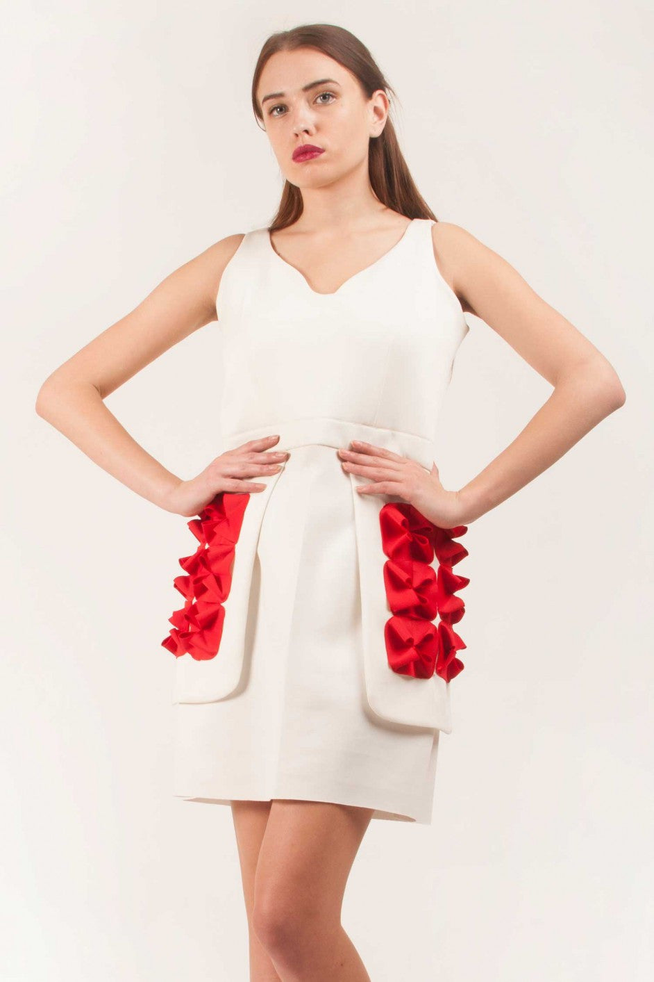 White Dress With Red Flowers On Side Flaps Vintage Desi