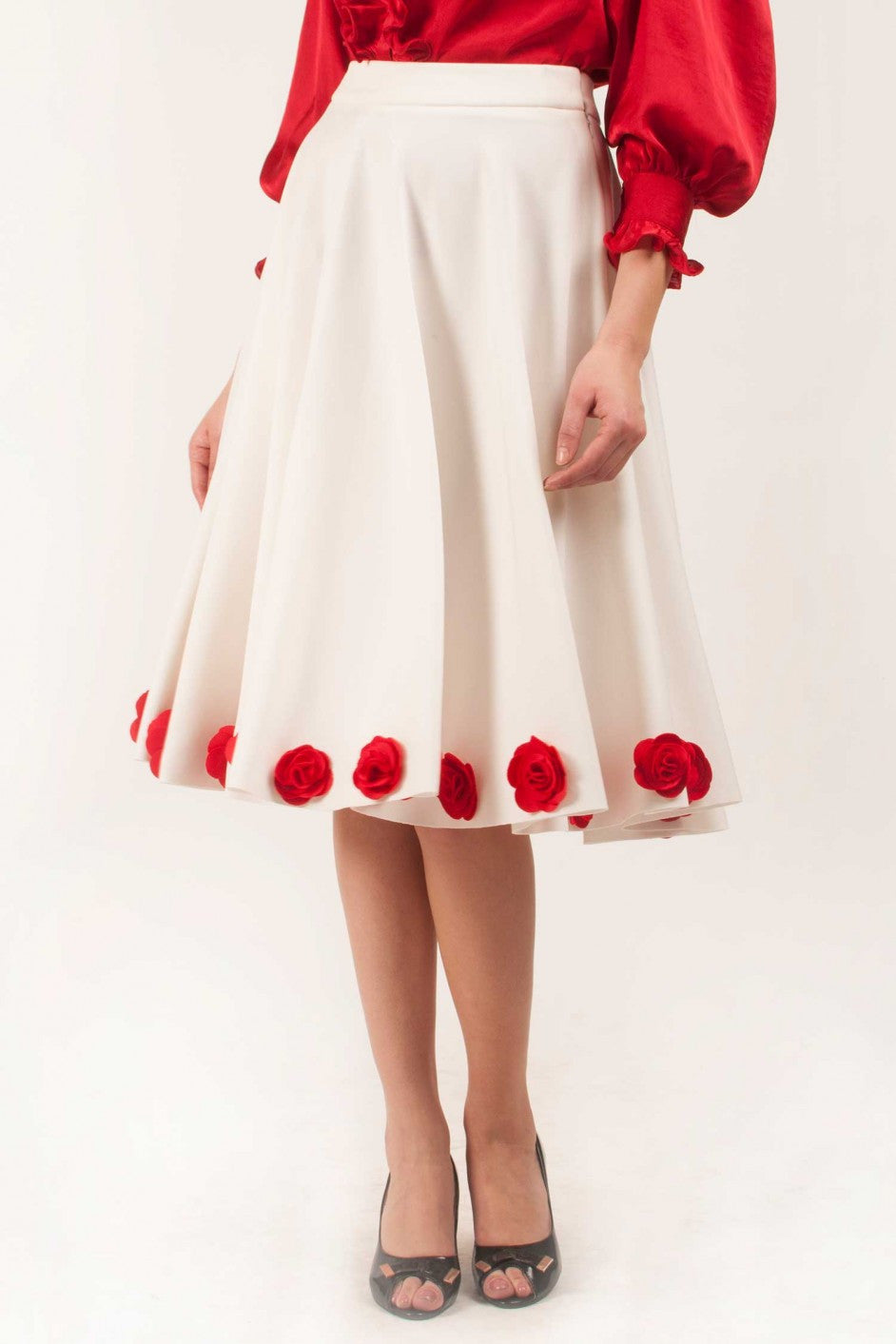 White Skirt With Red Flowers Around The Hem Vintage Desi