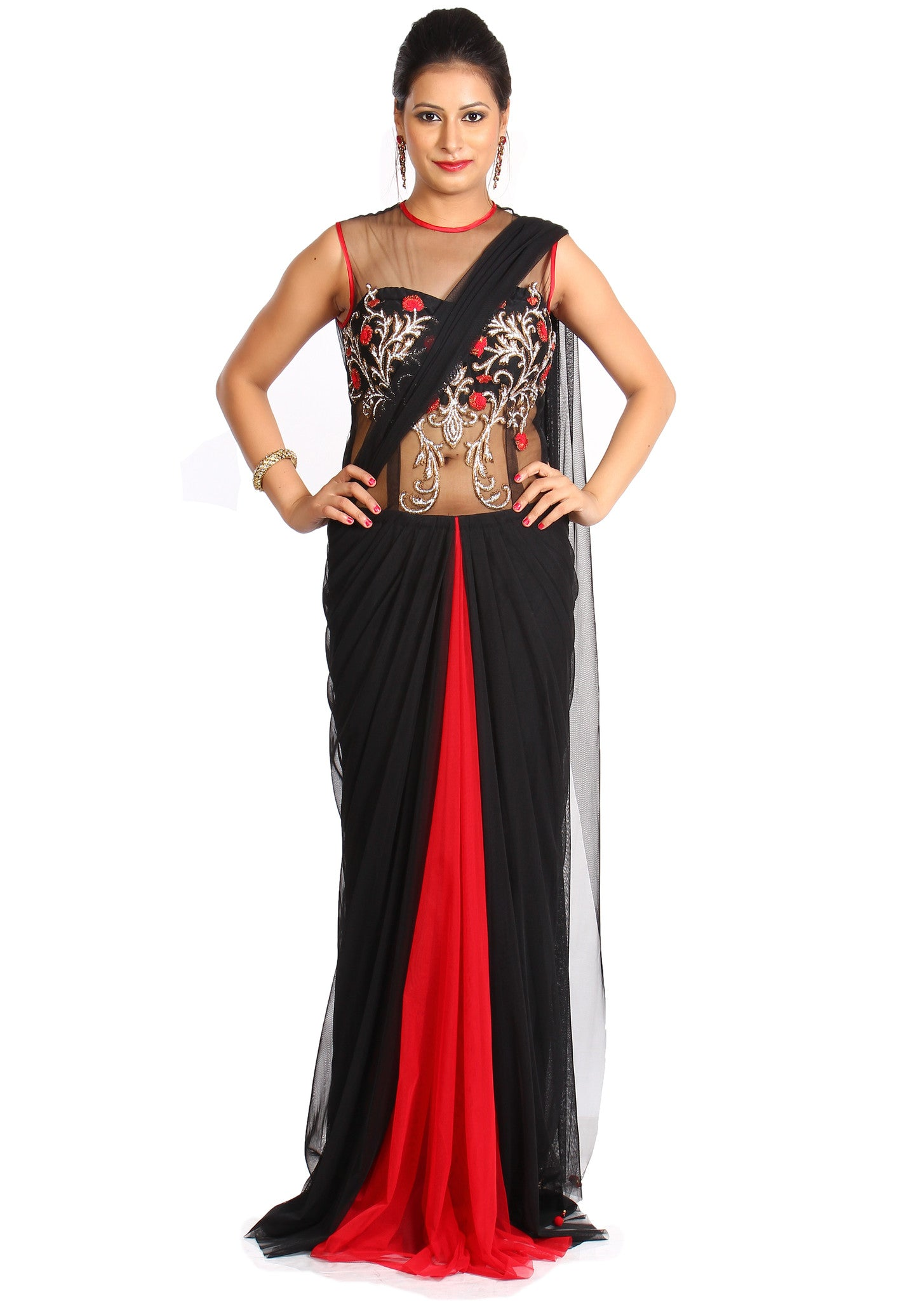 04688d1118 Red and black backless draped saree gown | Vintage Desi
