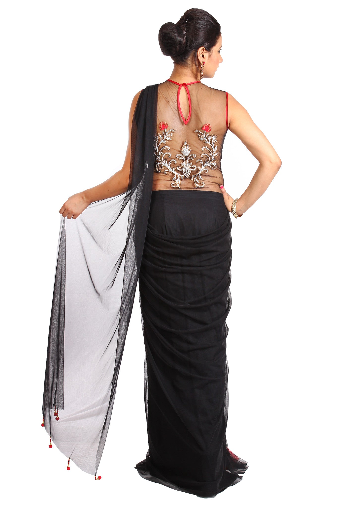 Red and black backless draped saree gown | Vintage Desi