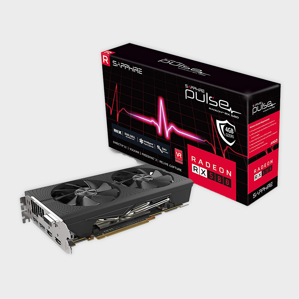 Sapphire 11265-09-20G Radeon Pulse RX 580 4GB GDDR5 OC with Backplate (UEFI) PCI-E Graphics Card-Sapphire-computerspace