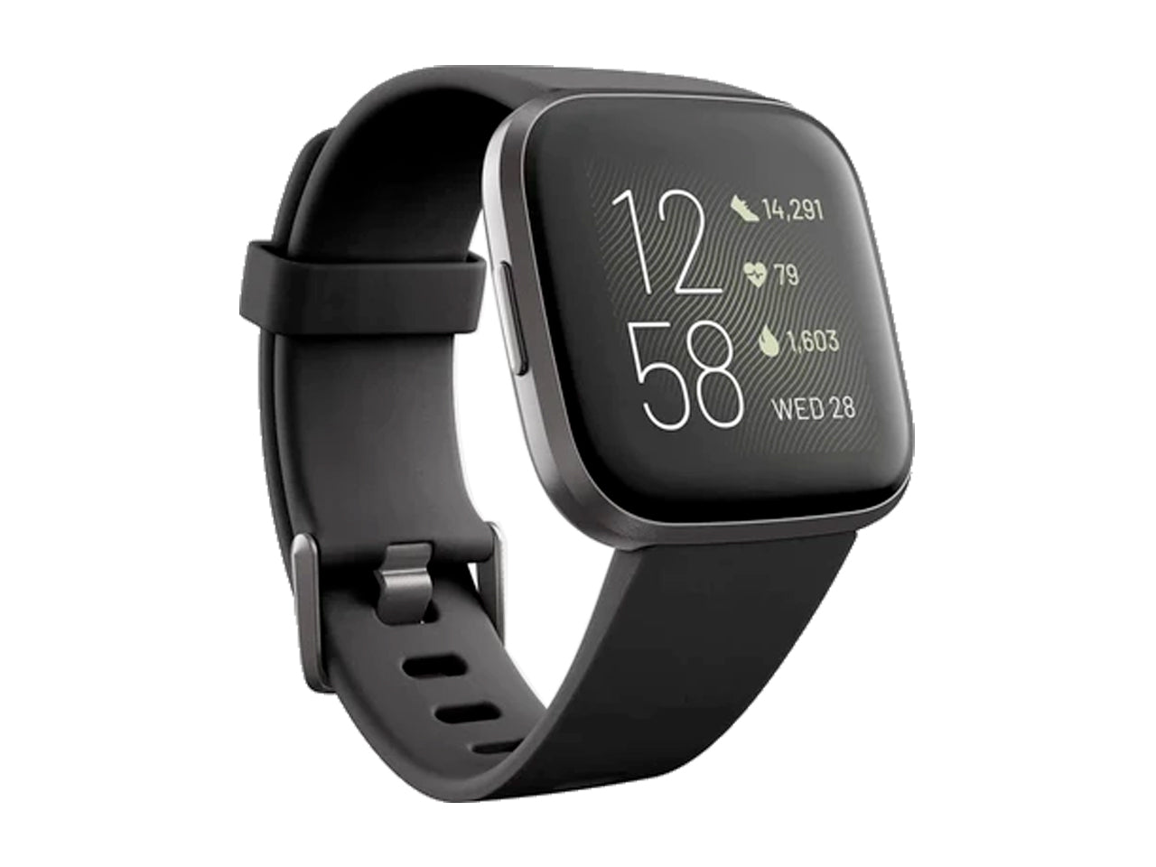 Fitbit Versa 2 Health & Fitness Smartwatch (Black / Carbon Aluminum)-computerspace