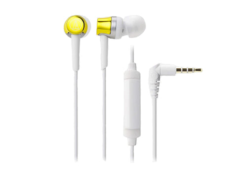 AUDIO TECHNICA SONIC FUEL IN EAR HEADPHONES WITH IN-LINE MIC and CONTROL (Yellow)-computerspace