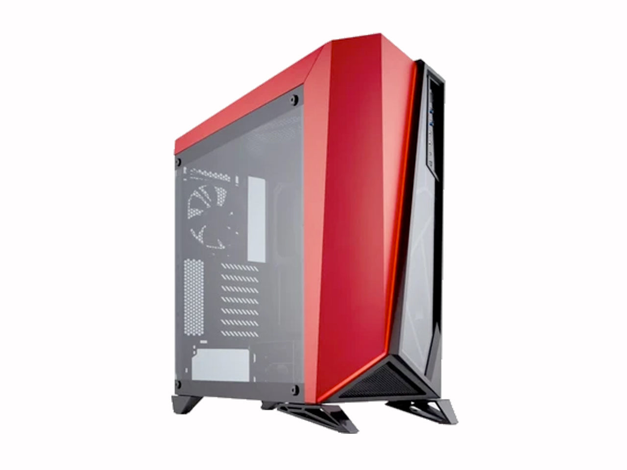 CORSAIR Carbide Tempered Glass Mid-Tower Black/Red Cabinet-computerspace