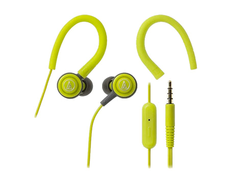 AUDIO TECHNICA SONIC SPORT IN-EAR HEADPHONE WITH MIC (Lemon Green)-computerspace