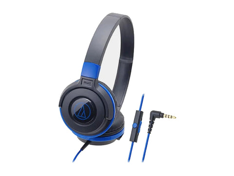 AUDIO TECHNICA OVER EAR HEADSET WITH MIC - 36MM DRIVERS (BLACK/BLUE)-computerspace
