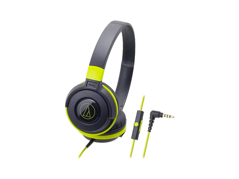 AUDIO TECHNICA OVER EAR HEADSET WITH MIC - 36MM DRIVERS (Black/Green)