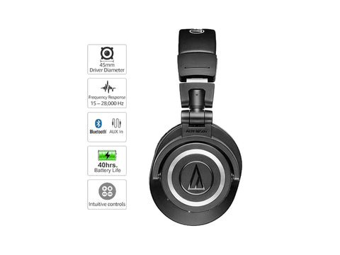 Audio Technica ATH-M50XBT Wireless Bluetooth Over-Ear Headphones (Black)-computerspace