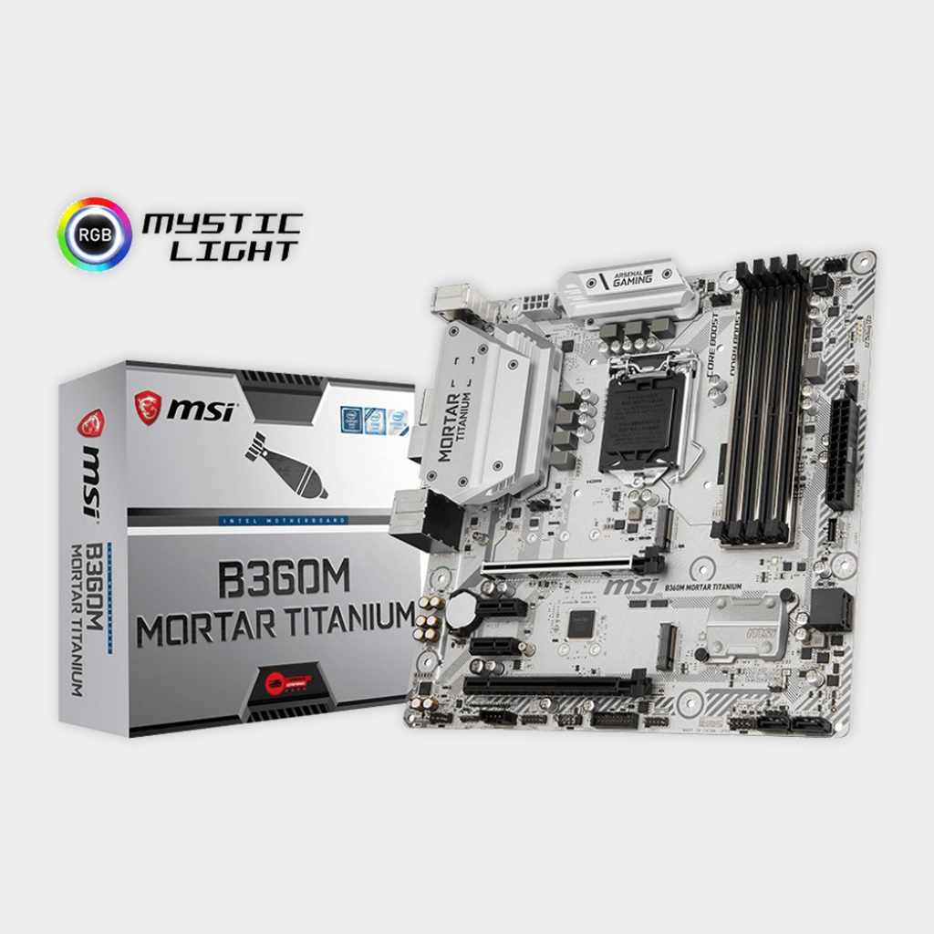 MSI B360M Mortar Titanium Arsenal Gaming LGA 1151 Motherboard-MSI-computerspace