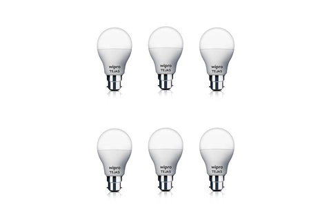 Wipro Polycarbonate Tejas Base B22 9-Watt Led Bulb (Pack Of 6, White)-computerspace