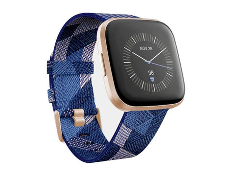 Fitbit Versa 2 Special Edition Health & Fitness Smartwatch Navy & Pink Woven / Copper Rose Aluminum-computerspace