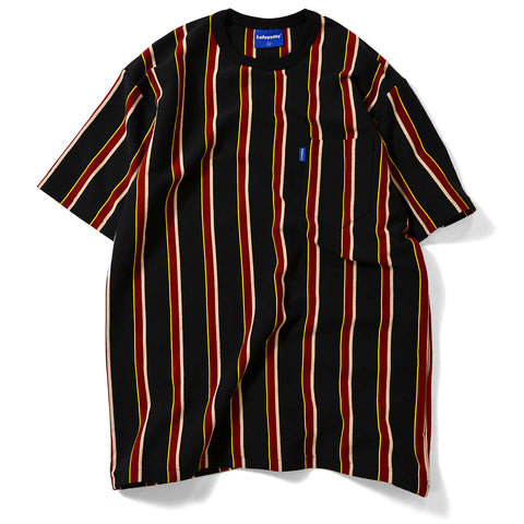 MULTI COLOR STRIPED S/S POCKET CUT SEWN BLACK