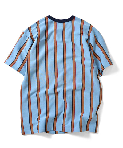 MULTI COLOR STRIPED S/S POCKET CUT SEWN LIGHT BLUE