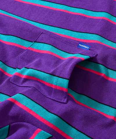 MULTI COLOR STRIPED S/S POCKET CUT SEWN PURPLE
