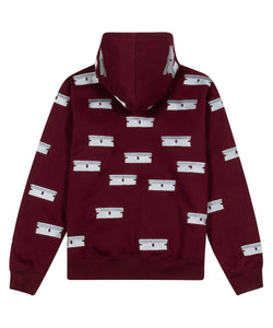 Public Housing Skate Team Razor Embroidered Hoodie Burgundy