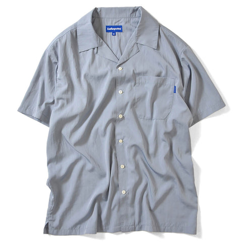 SOLID OPEN COLLAR S/S SHIRT GREY