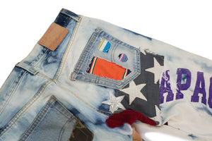 Apache Bleached Light Denim Pants Multi