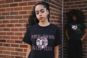 Public Housing Skate Team Brick Logo Tee Black
