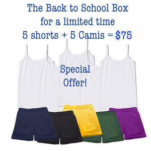 Back to school shorts and camisoles at SparkleFarms.com