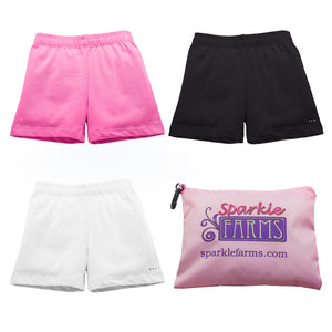 Girls Under Dress Shorts at SparkleFarms.com | Pink White Black