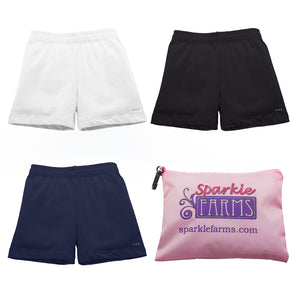Navy White Black girls bike shorts at Sparkle Farms