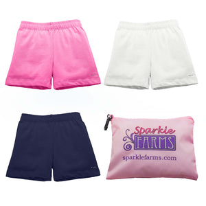 Girls Under Dress and Uniform Cartwheel Shorts Set - Pink, White, Navy - Preppy