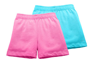 Girls Pink and Aqua Blue Playground Shorts 2-pack - Cartwheel Ready!