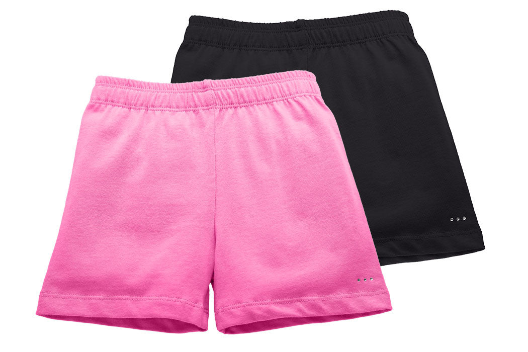 Girls Pink and Black Playground Shorts 2-pack - Cartwheel Ready!