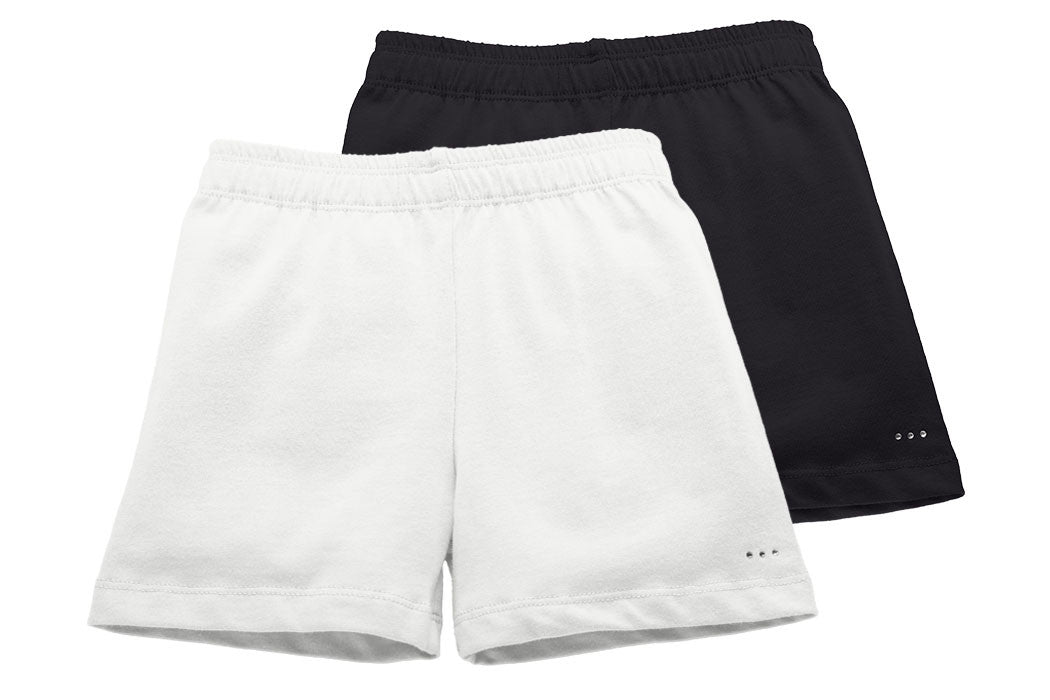 Girls White and Black Playground Shorts 2-pack - Cartwheel Ready!