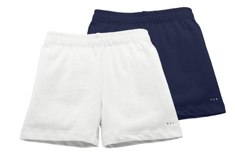 white and navy blue under school uniform shorts