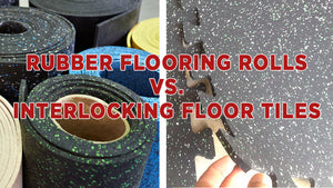 Image showing rubber flooring rolls compared to interlocking floor tiles