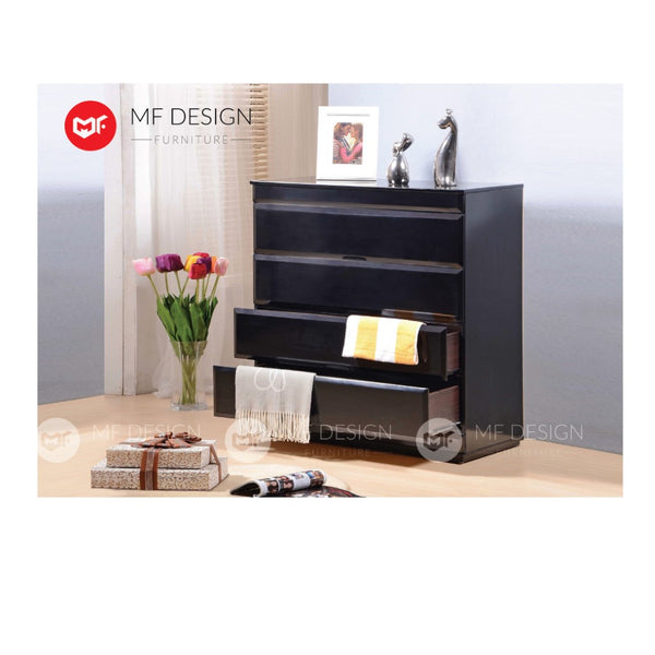 mf design alya chest drawer layer (black)  /storage cabinet wardrobe / almari baju / cabinet / storage 2 / drawer cabinet
