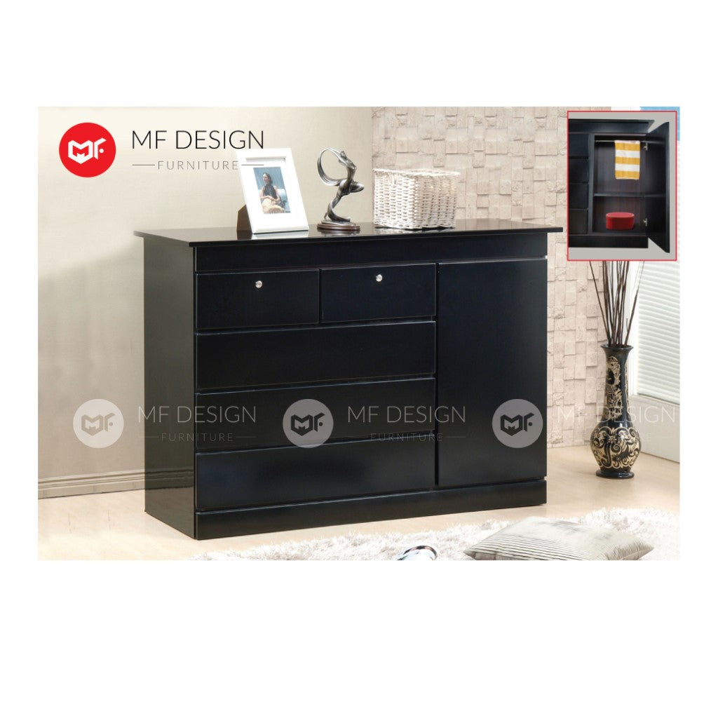 mf design boyal chest drawer layer (black)  /storage cabinet wardrobe / almari baju / cabinet / storage 2 / drawer cabinet