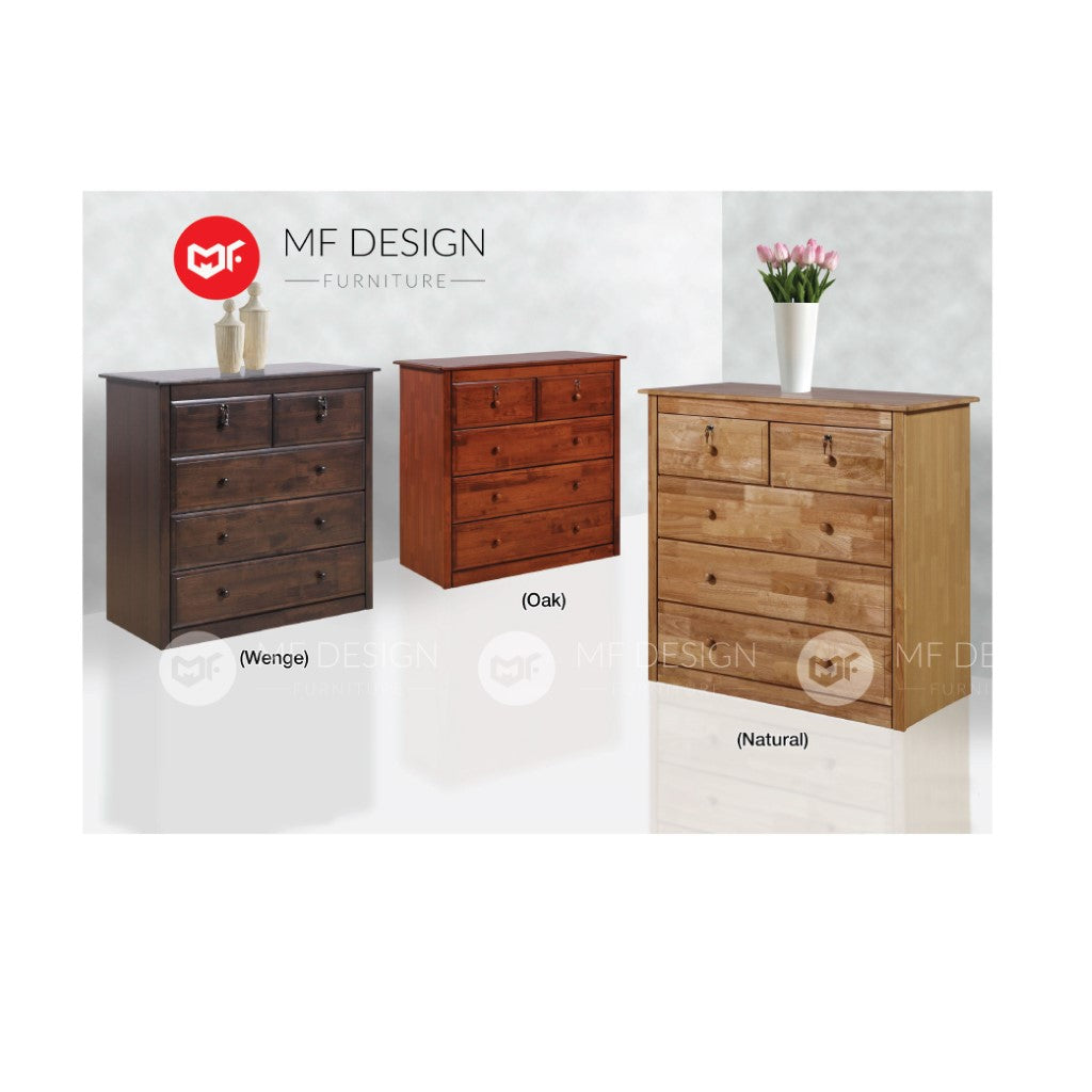 mf design lela chest drawer ( Solid rubber wood )  /layer storage cabinet wardrobe / almari baju / cabinet / storage 2 / drawer cabinet