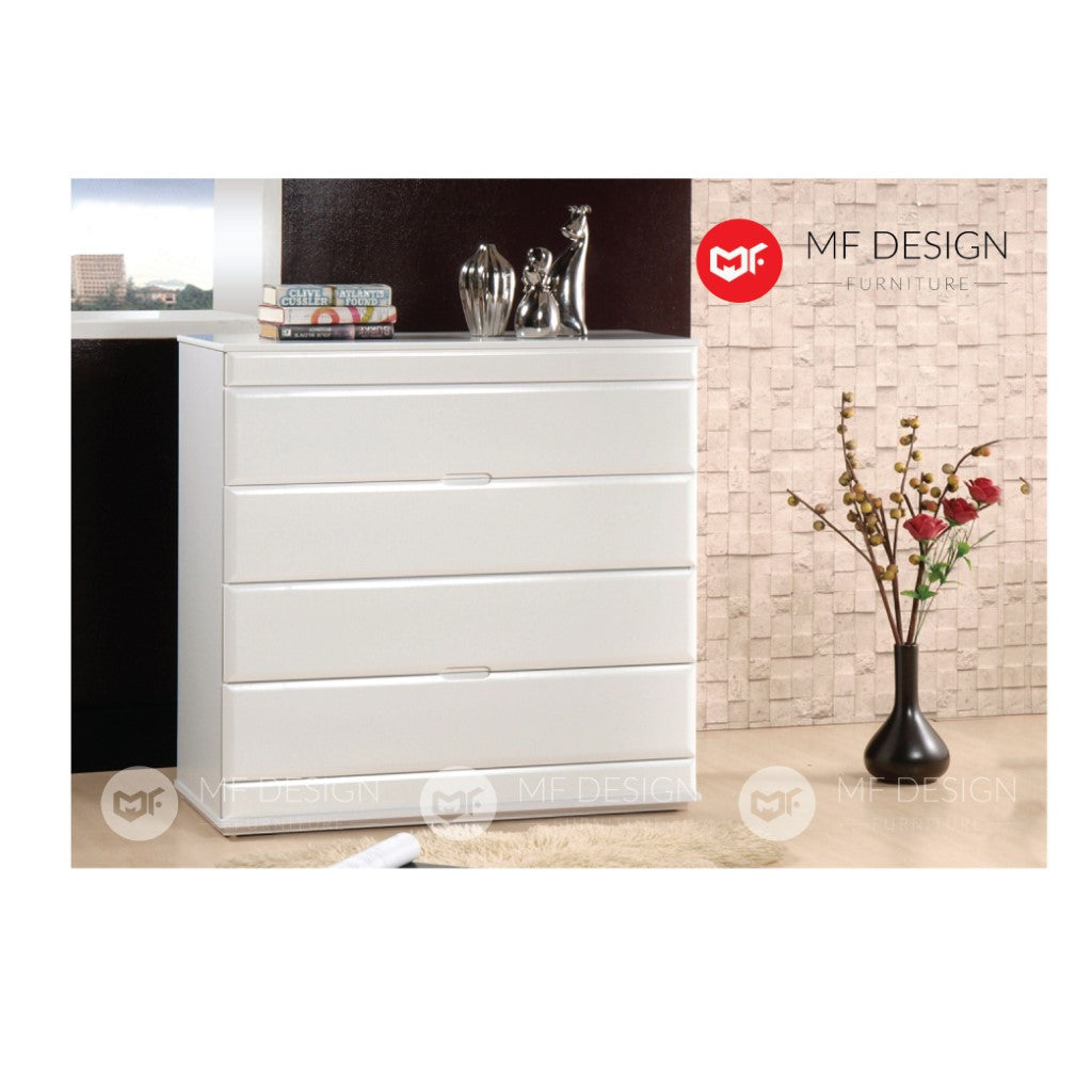 mf design alya chest drawer (white) layer storage cabinet wardrobe / almari baju / cabinet / storage 2 / drawer cabinet
