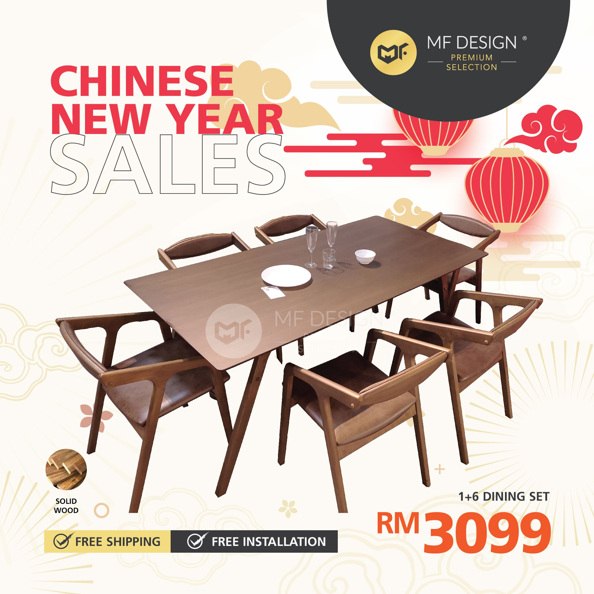 (Free Delivery) MFD Premium Tristan Dining Set  / 1+6 Set / Chair / Table / 6 Seater / Meja Makan Kerusi