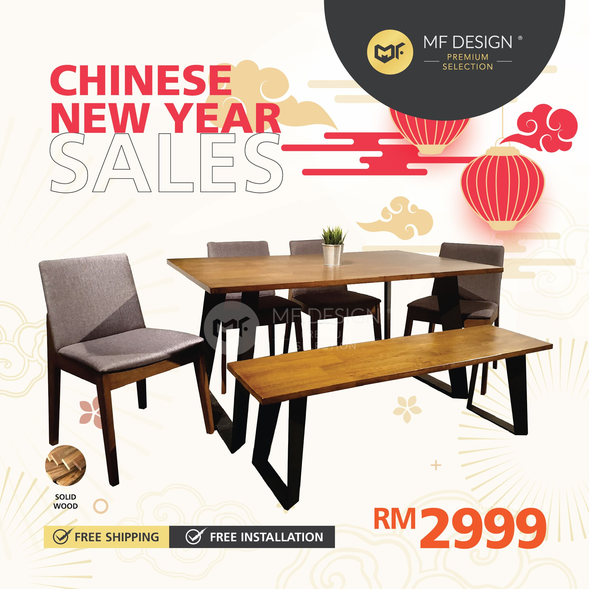 (Free Delivery)  MFD Premium Cyrus Dining Set Dining set / 1+6 Set / Chair / Table / 6 Seater / Meja Makan Kerusi