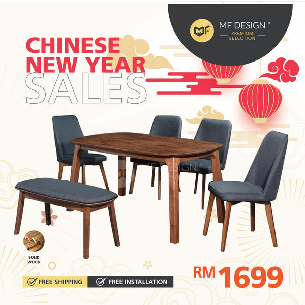 (Free Delivery)  MFD Premium Barret Dining Set Dining set / 1+6 Set / Chair / Table / 6 Seater / Meja Makan Kerusi